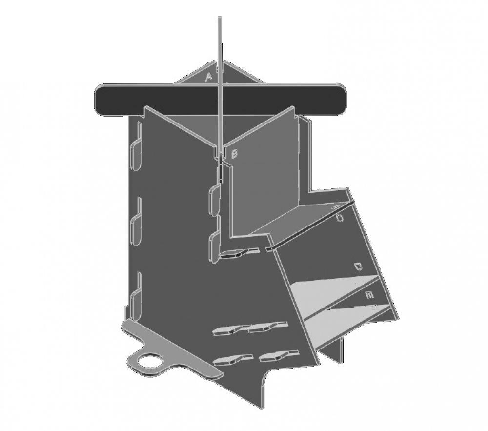 New Flat Pack Rocket Stove Diagram